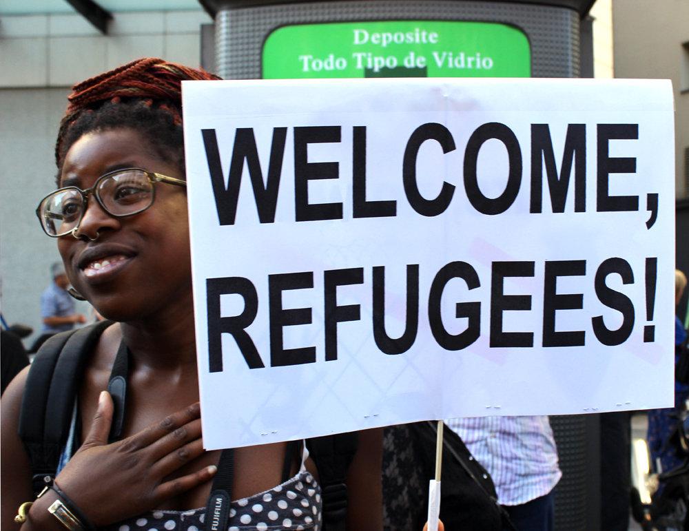 Pro vluchtelingen demonstratie Madrid